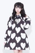 TRAVAS TOKYO【トラヴァストーキョー】 Hearts Aligned Shirts/ハート総柄プリントシャツ Black