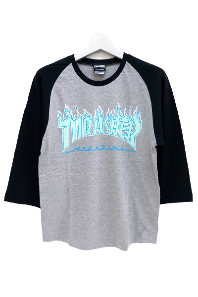 THRASHER TH92130 FLAME MAG LOGO 7/S GRY/BLK