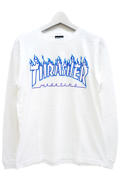 THRASHER TH93130 FLAME MAG LOGO L/S WHT/WHT