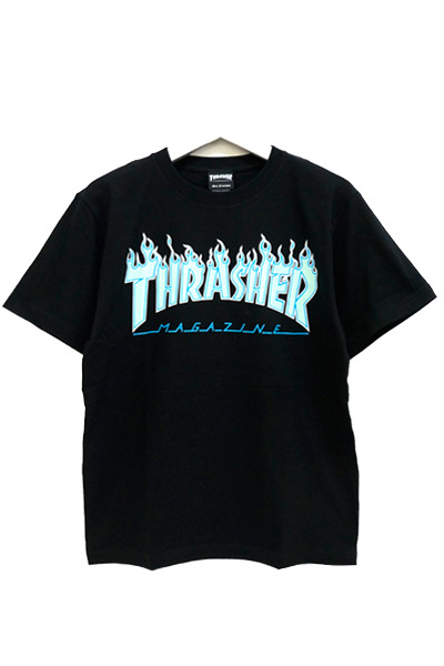 THRASHER TH91130 FLAME MAG LOGO S/S BLK/OPAL