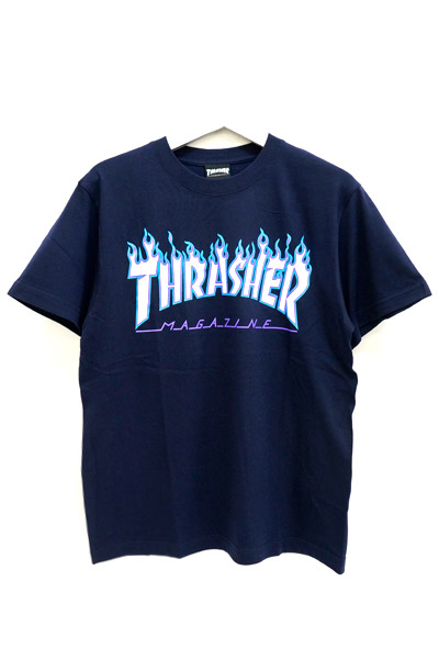 THRASHER TH91130 FLAME MAG LOGO S/S NAVY/WHT