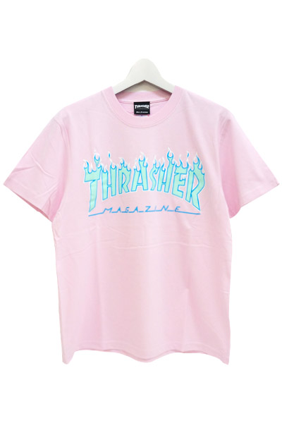 THRASHER TH91130 FLAME MAG LOGO S/S LT PINK/ROYAL