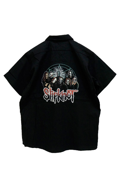 SLIPKNOT Logo on Front Pentagram Group on Back Black Button Down