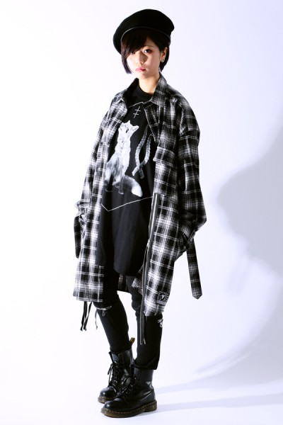 SILLENT FROM ME MALCOLM -Zip Wide Shirts- BLACK CHECK