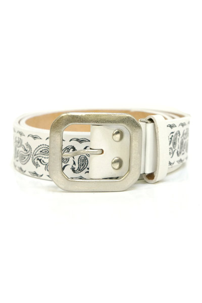 Zephyren (ゼファレン) PAISLEY LETHER BELT  WHITE