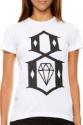 REBEL8 WOMENS WHITE LOGO TEE