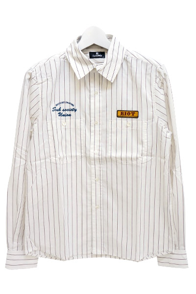 Subciety (サブサエティ) WORK STRIPE SHIRT WHITE