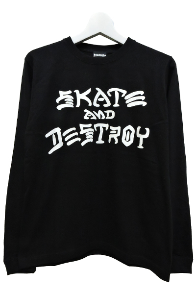 THRASHER TH8303 SKATE AND DESTROY LONG TEE BLK/WHT