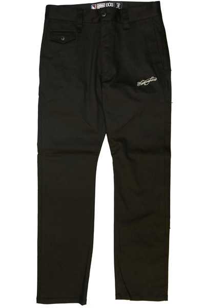 NineMicrophones EMBROIDERY WORK PANTS-Pray with the microphone- BLACK