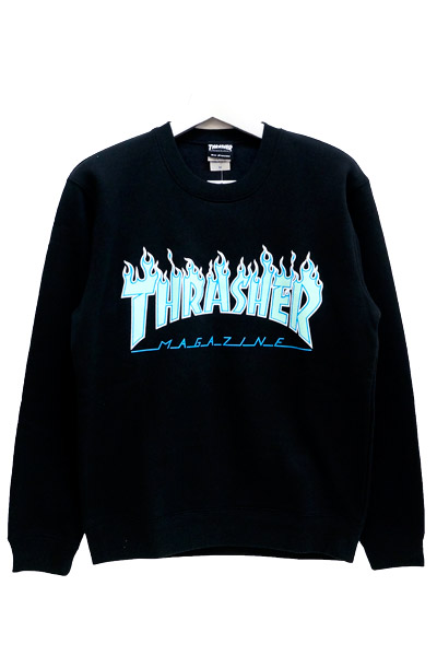 THRASHER TH94130 FLAME MAG LOGO SWEA BLK/OPAL