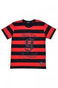 NineMicrophones BORDER TEE S/S -9MC Crew- RED