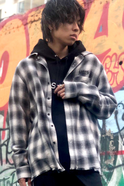Subciety (サブサエティ) FRINGE CHECK SHIRT BLACK