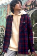 Subciety (サブサエティ) FRINGE CHECK SHIRT RED