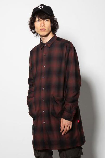 VIRGO VG-SH-192 BLEARY LONG SHIRTS ロングチェックシャツ RED