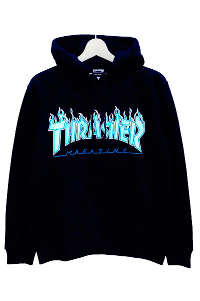 THRASHER TH95130 FLAME MAG LOGO HOOD NAVY/OPAL