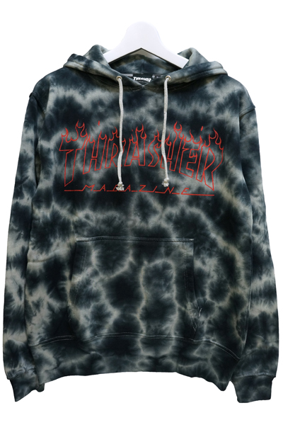 THRASHER TH8508TD2 FLAME LOGO HOODIE RED/RED