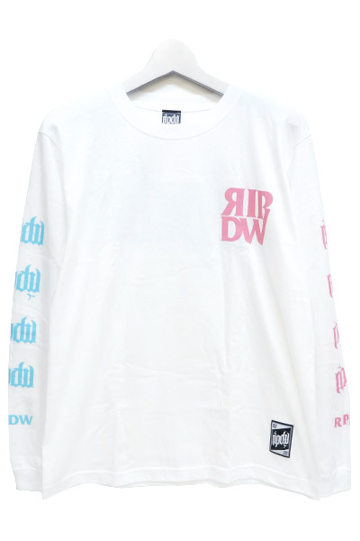 RIP DESIGN WORXX RIPDW LOGO LONG T-SHIRT ホワイト×パステル