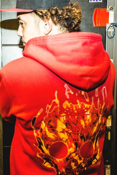 GoneR GR15ZP001 Fire Mexican Skull Zip Parka Red