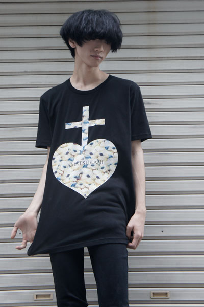 アマツカミ Mice Heart T-shirts BLACK