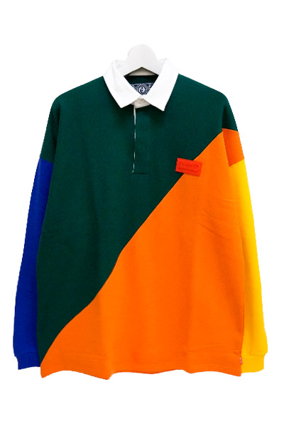 ROLLING CRADLE GAUDY RUGBY SHIRT / Green-Orange