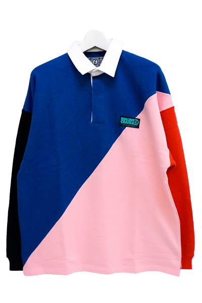 ROLLING CRADLE GAUDY RUGBY SHIRT / Navy-Pink