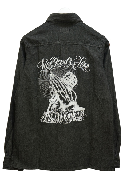 NineMicrophones DENIM SHIRT L/S-Pray with the microphones- BLK
