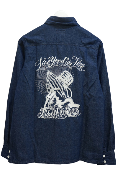 NineMicrophones DENIM SHIRT L/S-Pray with the microphones- INDIGO