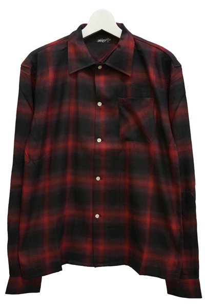 NineMicrophones OMBRE CHECK SHIRTL/S-Comrade- RED