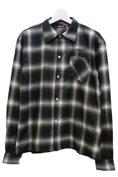 NineMicrophones OMBRE CHECK SHIRTL/S-Comrade- BLACK