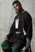 NOT COMMON SENSE BRAIN LAYERED L/S TEE BLACK