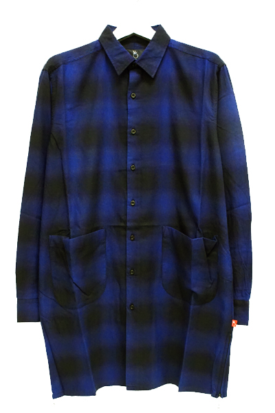 VIRGO VG-SH-192 BLEARY LONG SHIRTS ロングチェックシャツ BLUE