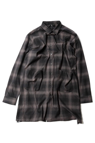 VIRGO VG-SH-192 BLEARY LONG SHIRTS ロングチェックシャツ CHARCOAL