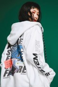 """LILWHITE(dot) LW-19AW-S06 """"THEME"""" FRONT ZIP HOODIE (WHT)"""