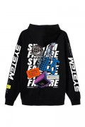 """LILWHITE(dot) LW-19AW-S06 """"THEME"""" FRONT ZIP HOODIE (BLK)"""