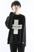 SILLENT FROM ME CROSS -Loose Crew Sweat- BLACK/WHITE