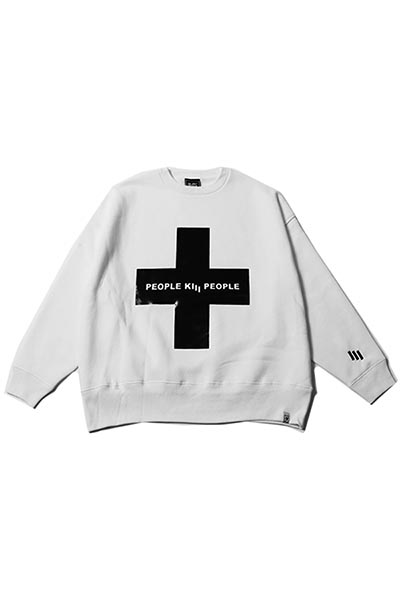 SILLENT FROM ME CROSS -Loose Crew Sweat- WHITE