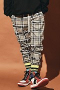 MUSIC SAVED MY LIFE M101-01K5-PL02 2LINE CHECK PANTS BLACK