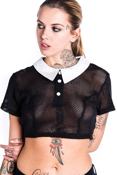 KILL STAR CLOTHING ADDAMS CROP TOP [MESH]