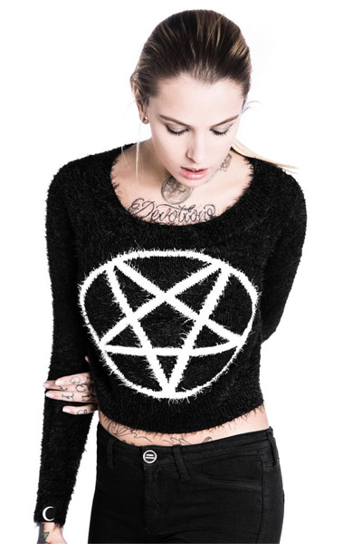KILL STAR CLOTHING Dropout Pentagram Crop Sweater