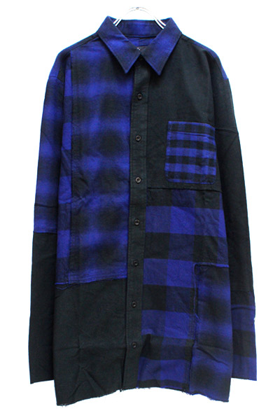 VIRGO VG-SH-190 CONFUSION CHECK MIDDLE SHIRTS BLUE