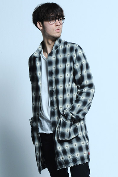 VIRGO NATIVE MIDDLE CHECK SHIRTS BLK