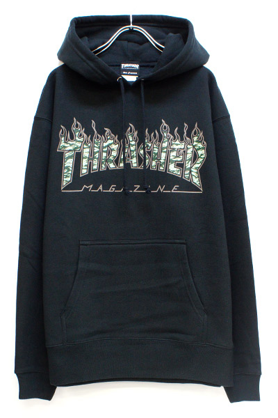THRASHER TH95225 Tiger Flame Camo HOODIE BLACK
