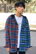 ROLLING CRADLE 2TONE HOODED SHIRT / Blue-Green