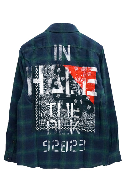Zephyren (ゼファレン) BANDANA CHECK SHIRT L/S -Inhale the black- GREEN