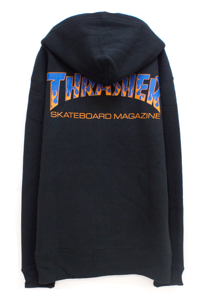 THRASHER TH8662B BBQ ZIP HOOD SWEAT BLACK/BLUE
