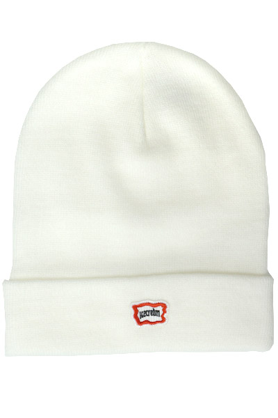 ICECREAM SMALL LOGO BEANIE WHITE