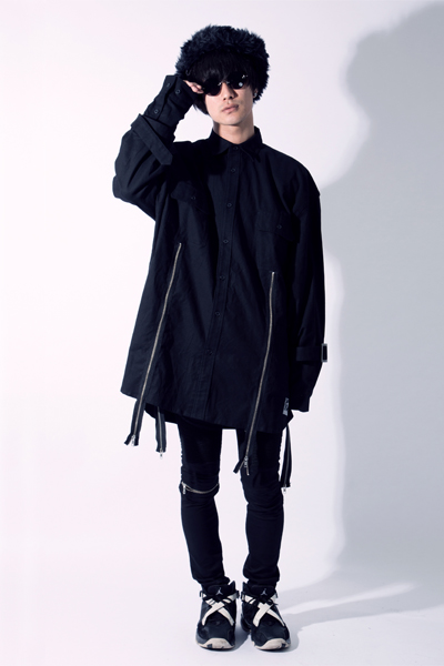 SILLENT FROM ME MALCOLM -Zip Wide Shirts- BLACK