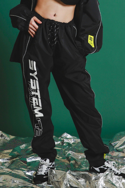 "LILWHITE(dot) LW-19AW-B01 ""SYSTEM""TRACK PANTS (BLK)"