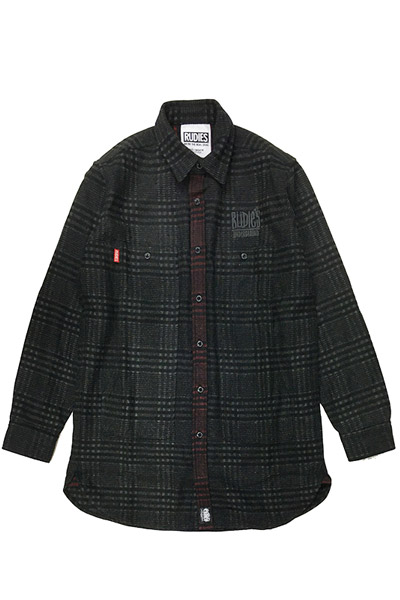 RUDIE'S DRAWING LONG CHECK SHIRTS BLACK