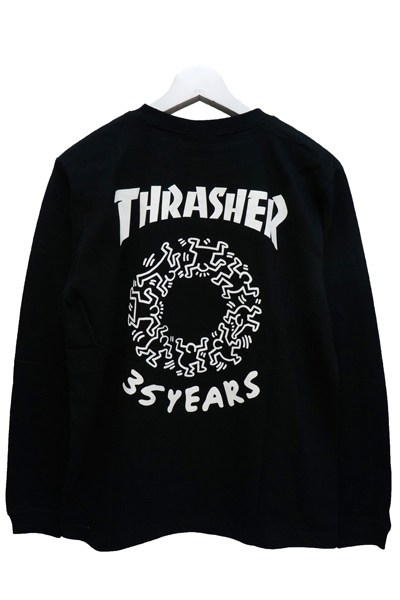 THRASHER THKH-LST08 LONG TEE BLACK